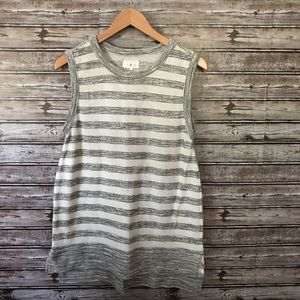 Lou & Grey high lo grey and white top